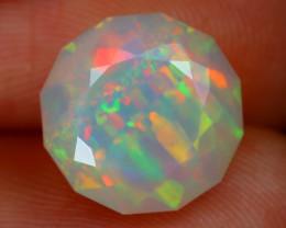 3.10Ct Ribbon Mackerel Pattern Rainbow Flash Color Welo Opal E2604