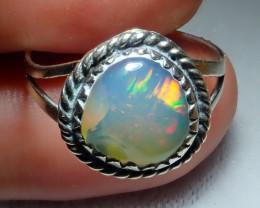 7.7sz Ethiopian Welo Opal .925 Sterling Silver Ring