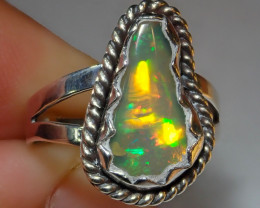 $1 NR Auction 7sz Ethiopian Welo Opal .925 Sterling Silver Ring