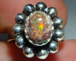 7.2sz Mexican Opal .925 Sterling Silver Ring