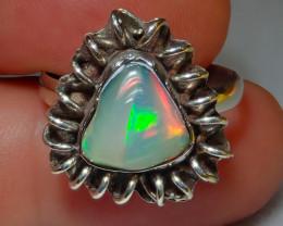 9sz Ethiopian Welo Opal .925 Sterling Silver Ring