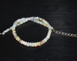 12.95 CT OPAL BRACELET MADE OF NATURAL ETHIOPIAN BEADS STERLING SILVER OBB1
