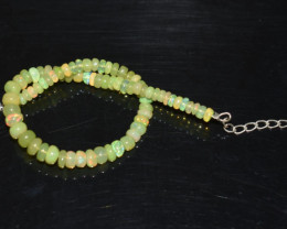 19.70 CT OPAL BRACELET MADE OF NATURAL ETHIOPIAN BEADS STERLING SILVER OBB1