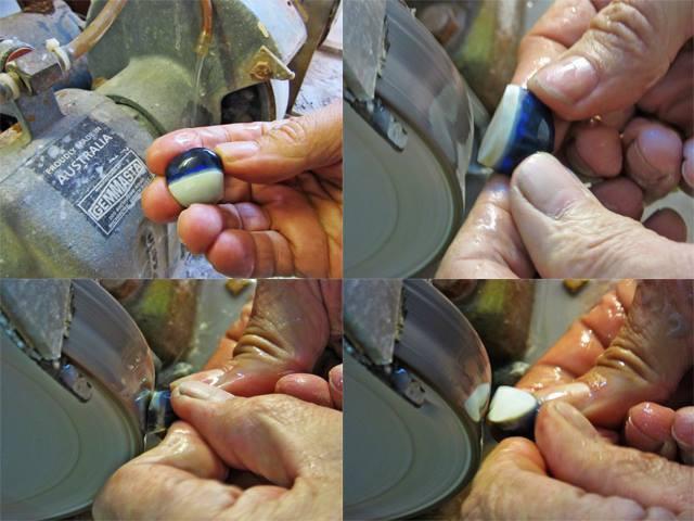 Rubbing down 50 carats rough black opal knobby on an opal cutting machine