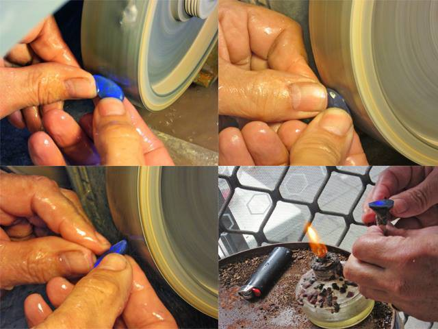 Shaping the black opal on cutting wheel 600 grit