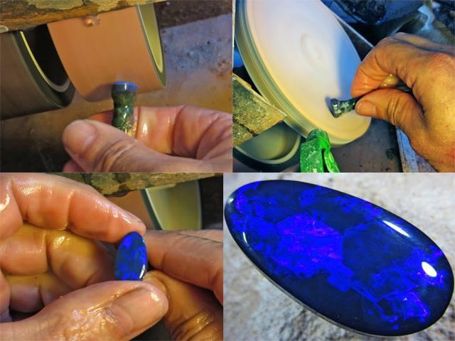 finished polished and shaped  910 carats black opal