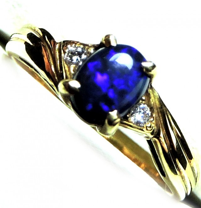 engagement ring opal rings vintage diamond black