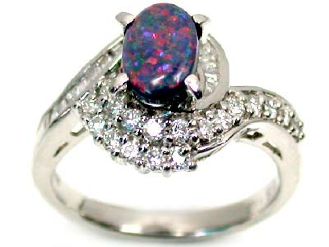 black opal in white gold - Black Opal Wedding Rings