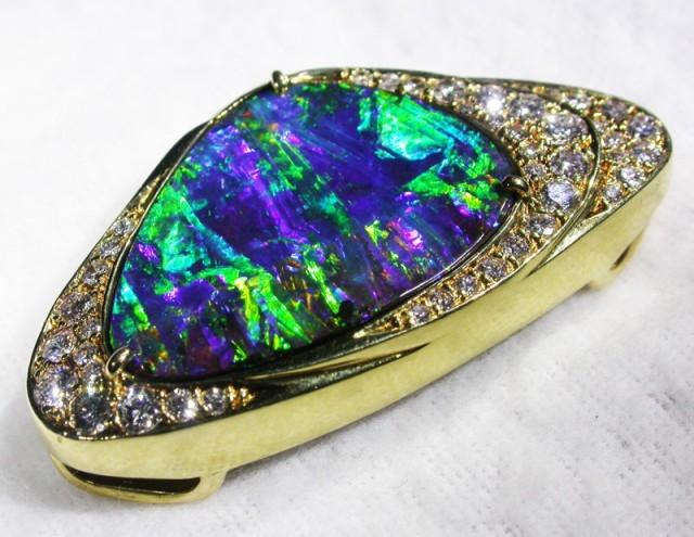 boulder opal pendant with diamond accents
