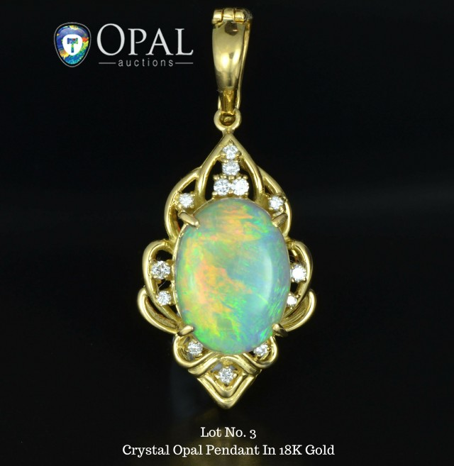 Lot 3 - Crystal Opal Pendant in 18K Gold