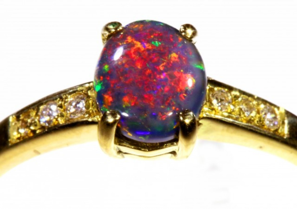style black opal vintage necklace diamond pendant platinum