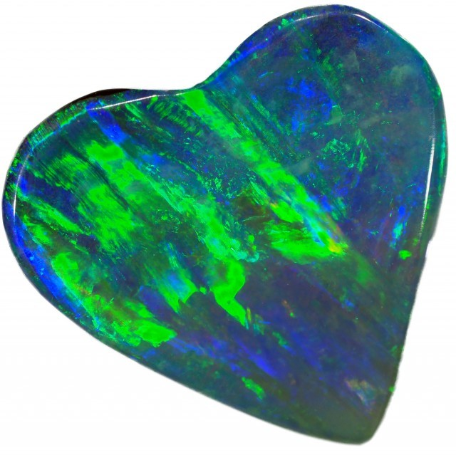 black opal love heart shape