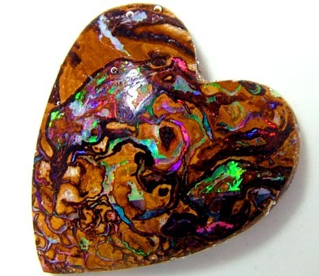 boulder opal love heart shape
