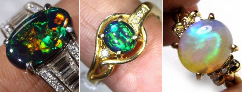 Claw set opal rings