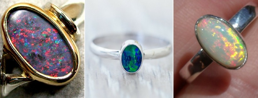 Bezel Set Opal Rings
