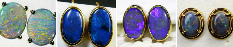 Gold Black Opal Earrings