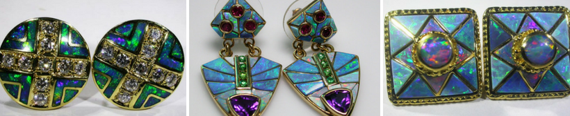 Gold Inlay Opal Earrings