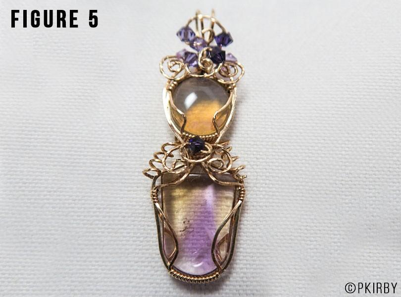 Crystal opal and ametrine gemstone pendant