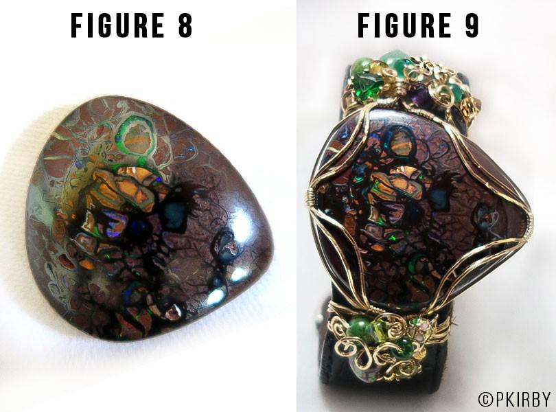 Travelling inuit girl boulder opal emeralds and peridot bracelet