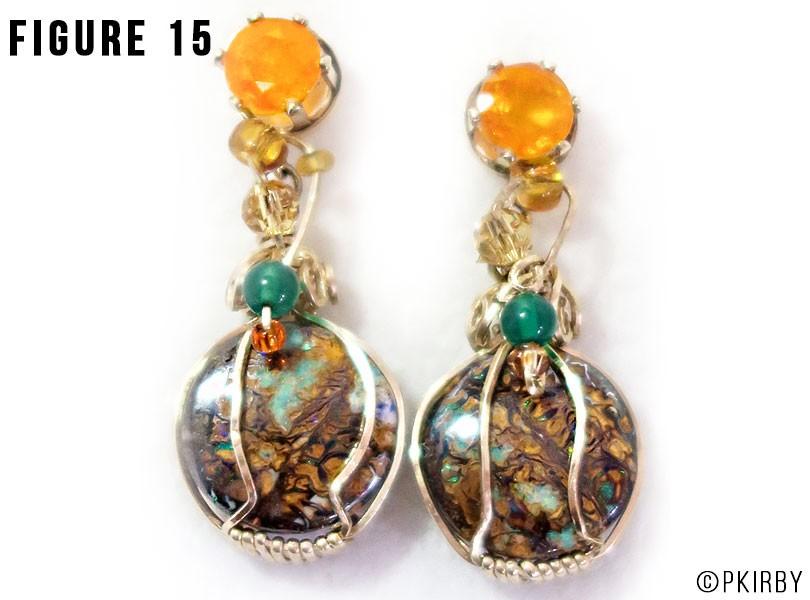 Wire wrap boulder opal earrings