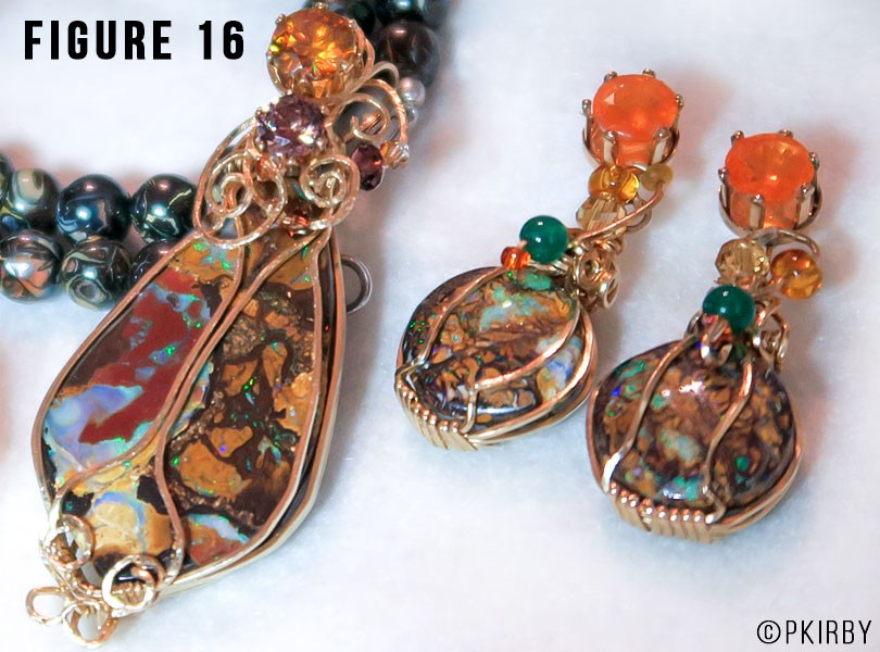 boulder opal pendant and earrings wire wrap jewelry