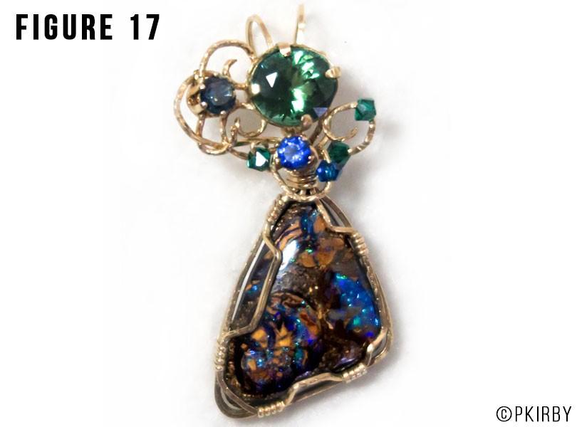 boulder opal with tourmaline wire wrap jewelry