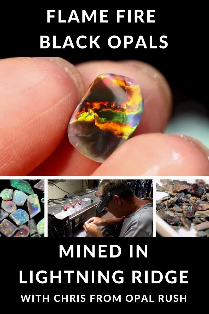 flame fire black opals  mined in lightning ridge