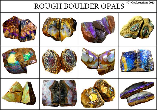 Australian Boulder Opal Rough Chart