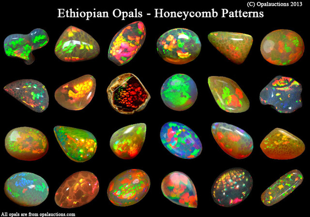 Ethiopian opal honeycomb patterns