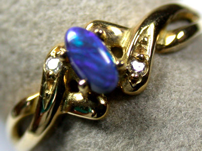 BLACK OPAL RING 18K  YELLOW  GOLD  RING  SIZE6.5   SCA 746