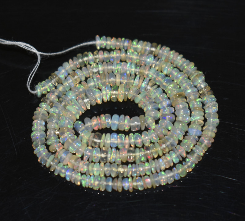 26.85 Ct Natural Ethiopian Welo Opal Beads Play Of Color OB237