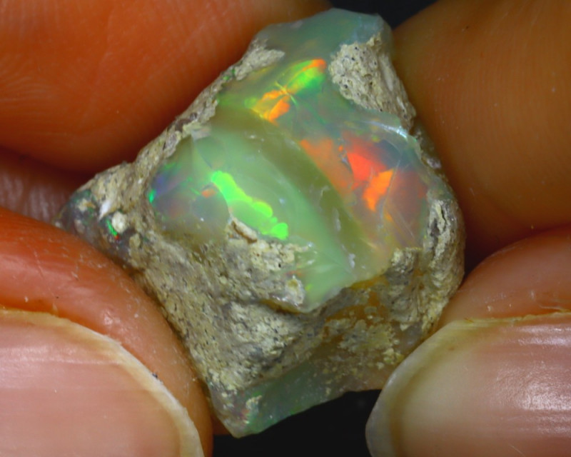 15.52Ct Multi Color Play Ethiopian Welo Opal Rough HR159/R2