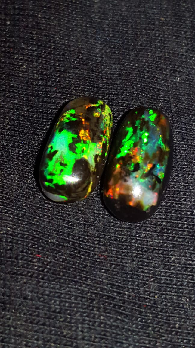 5.00 CRT 2PCS NEON FLASH DELUXE PLAY COLOR INDONESIAN OPAL WOOD FOSSIL