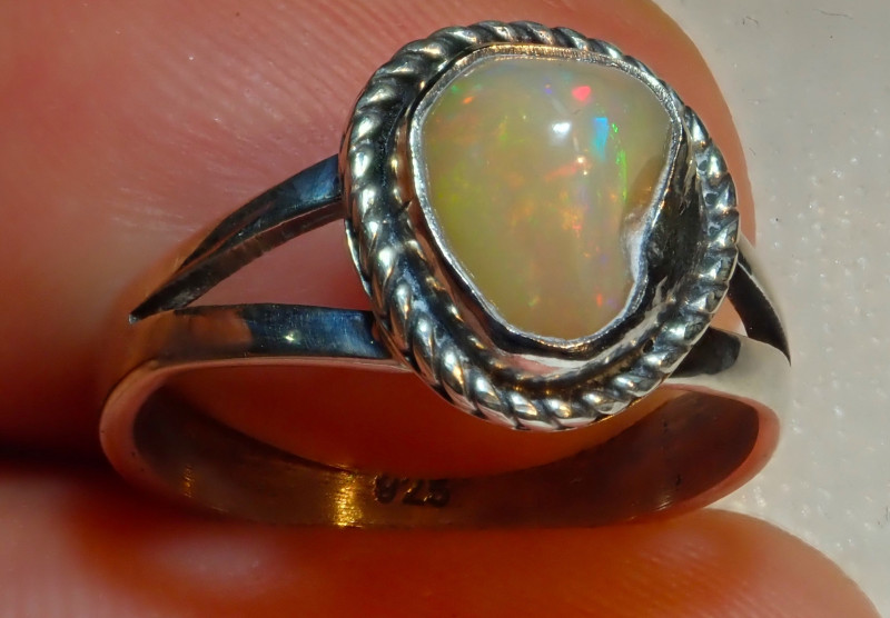$1 NR Auction 6sz Natural Ethiopian Welo Opal .925 Sterling Silver
