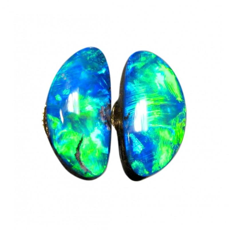 Australian Opal Stud Earrings Genuine 14k Gold 7.8ct Doublets E00