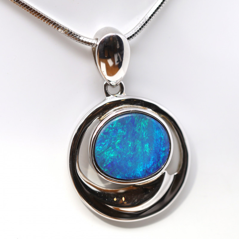 925 ST/ SILVER RHODIUM PLATED OPAL DOUBLET PENDANT [FP124]