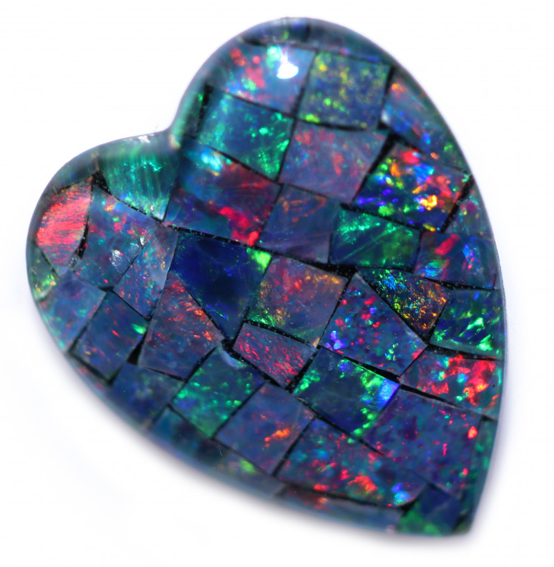 Lovers Heart Shape Mosaic Opal Triplet    CCC 1853