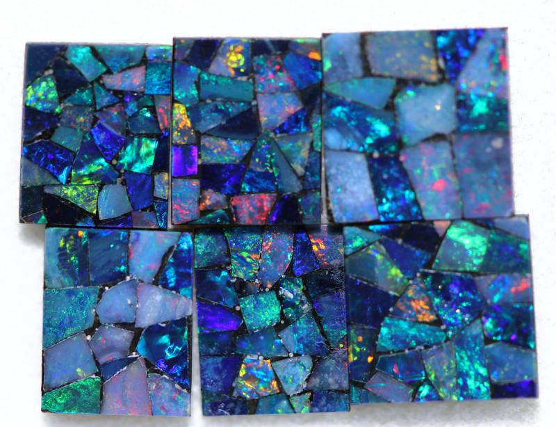 12.9 Cts parcel 6 pcs Opal Mosaic Doublet  CCC 2072