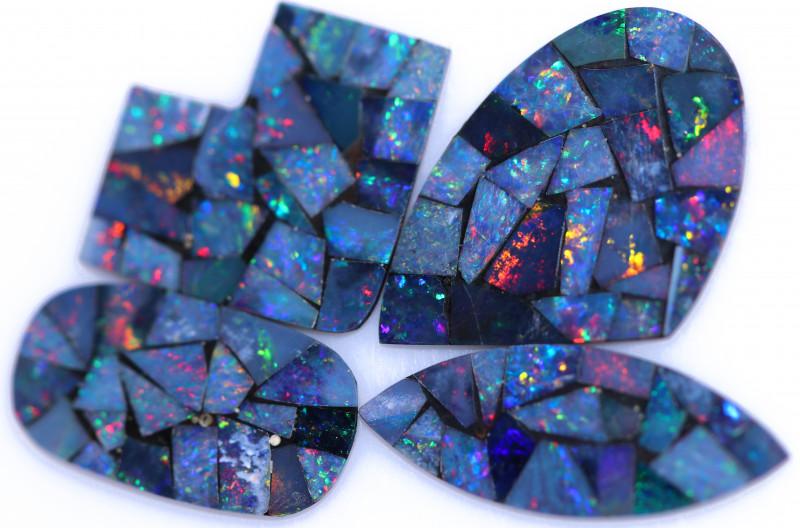 14.2 Cts parcel 4 pcs Opal Mosaic Doublet  CCC 2076