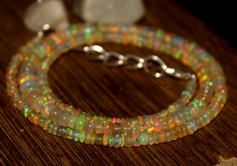 35 Crts Natural Ethiopian Welo Opal Beads Necklace 623