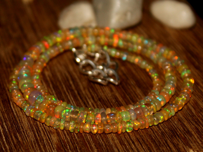 31 Crts Natural Ethiopian Welo Opal Beads Necklace 626