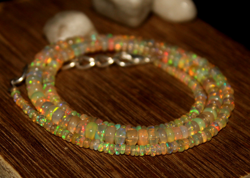 31 Crts Natural Ethiopian Welo Opal Beads Necklace 630