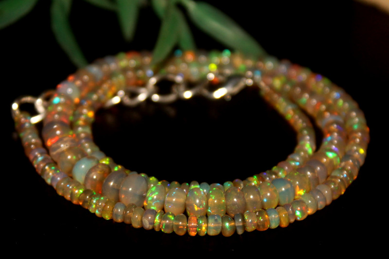 46 Crts Natural Ethiopian Welo Opal Beads Necklace 631