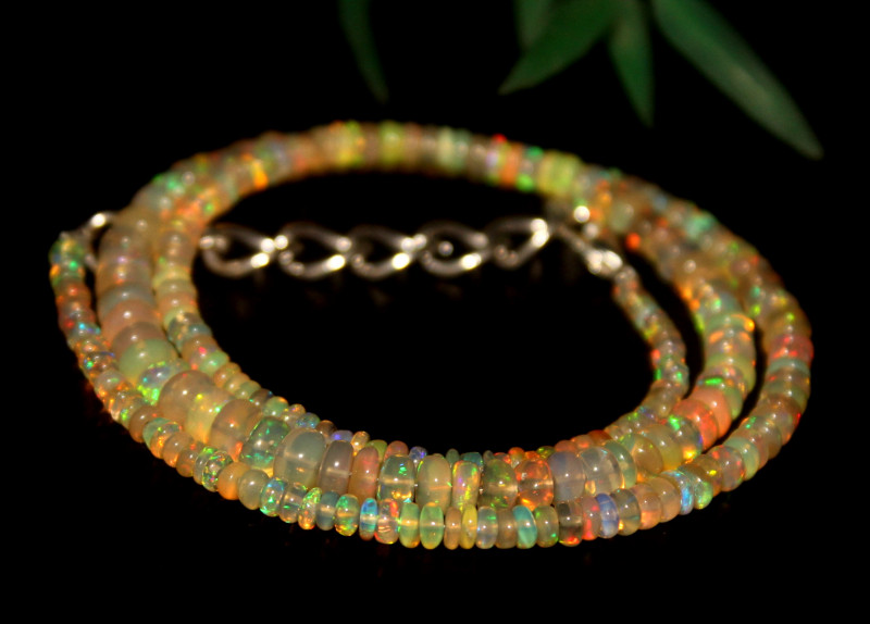 34 Crts Natural Ethiopian Welo Opal Beads Necklace 633
