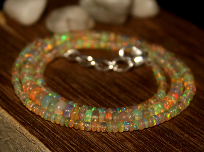 32 Crts Natural Ethiopian Welo Opal Beads Necklace 635