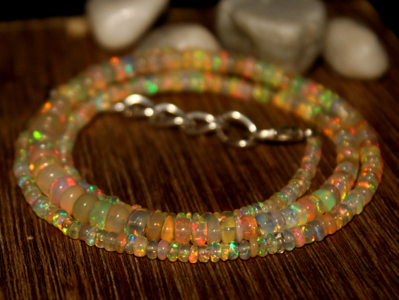 30 Crts Natural Ethiopian Welo Opal Beads Necklace 636