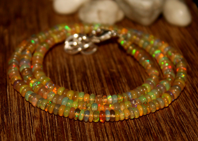 37 Crts Natural Ethiopian Welo Opal Beads Necklace 639
