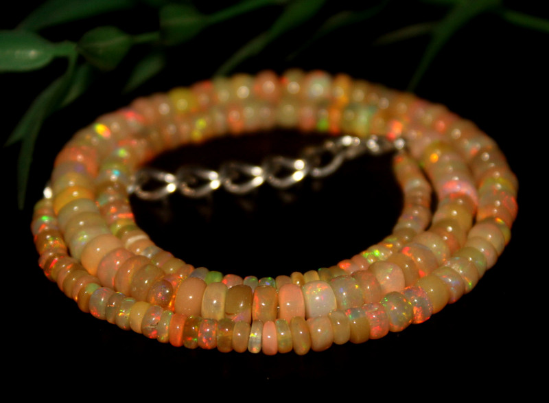 60 Crts Natural Ethiopian Welo Opal Beads Necklace 643