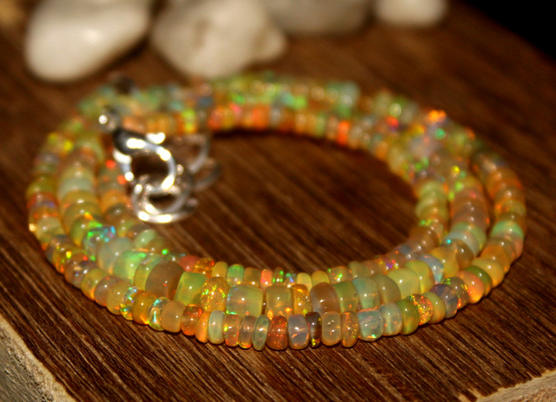 41 Crts Natural Ethiopian Welo Opal Beads Necklace 649