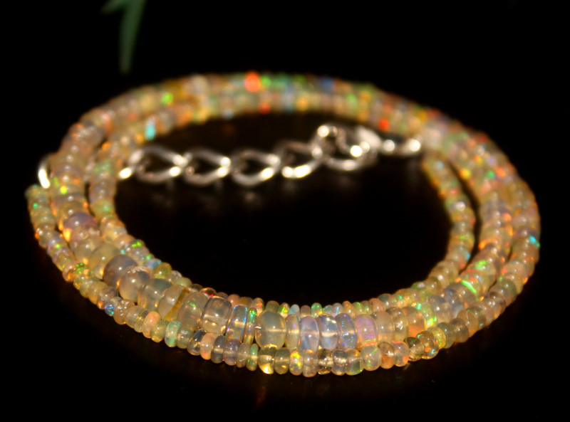 29 Crts Natural Ethiopian Welo Opal Beads Necklace 655